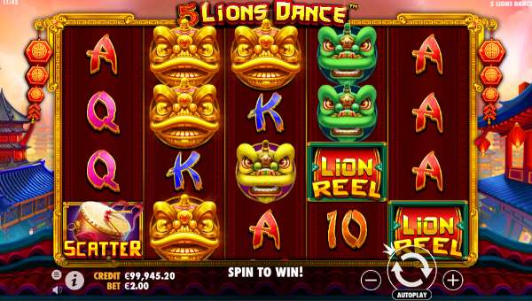 5 lions dance slot screen