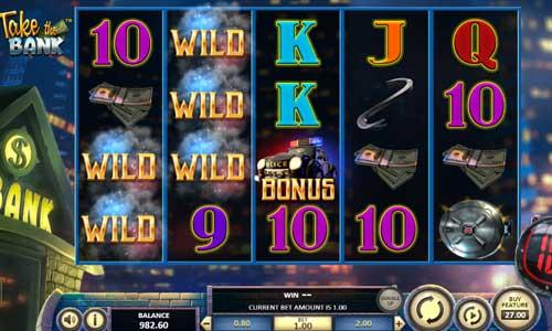 take the bank slot screen