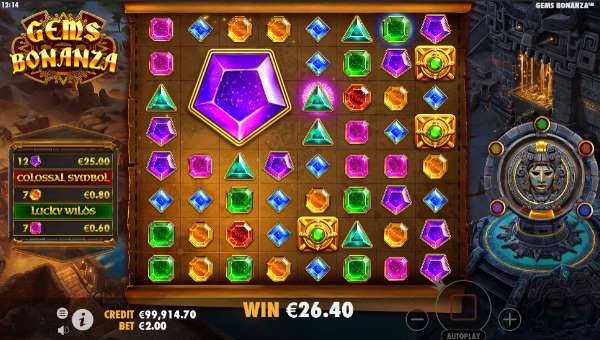 gems bonanza slot screen