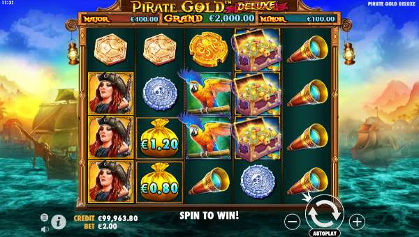 pirate gold deluxe slot screen
