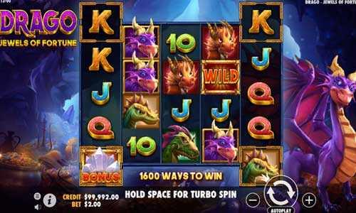 drago jewels of fortune slot screen