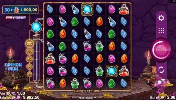 alchemy fortunes slot screen