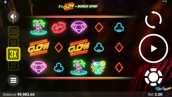 miami glow slot screen