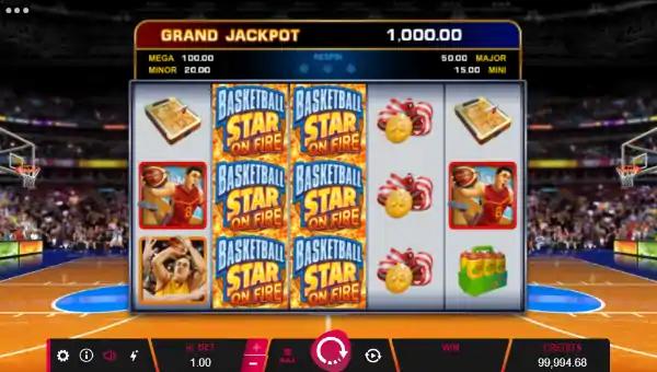 basketball star on fire slot screen