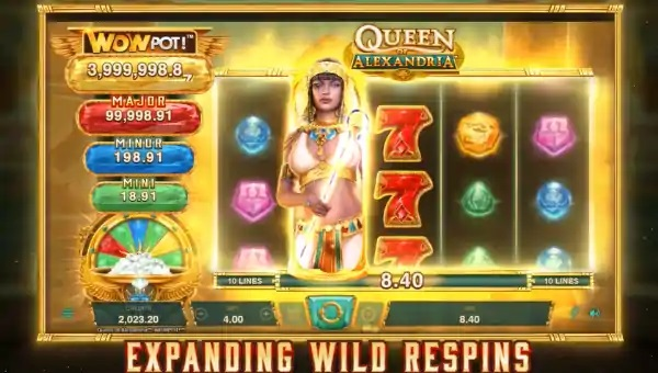 queen of alexandria wowpot slot screen