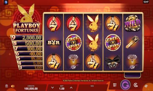 playboy fortunes slot screen
