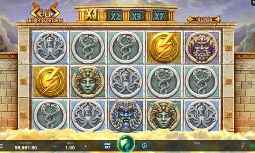 ancient fortunes zeus slot screen